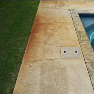 bore stain around pool before